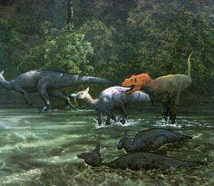 Henderson : Tarbosaurus launches an attack against the hadrosaur Saurolophus. | Love in the Time of Chasmosaurs: Vintage Dinosaur Art: De Oerwereld van de Dinosauriërs - Part 1