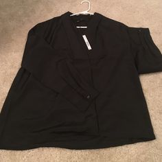 pretty wrap-over black silky blouse size medium, loose fit, wrapover with little hidden button, simple and cute Harve Benard Tops Blouses