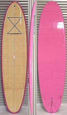 """New Stand Up Paddle Board 10'6"""" x 31 1/2"""" x 4 3/4"""" Epoxy Bamboo Deck SUP Pink"""