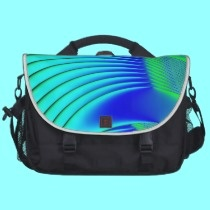 Aqua and Blue Peacock Feathers Fractal commuterbag by Artists4God.  Prices for my products start at around $1.00!