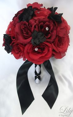 "17 Pieces Package Silk Flower Wedding Decoration Bridal Bouquet RED BLACK ""Lily Of Angeles"". $189.99, via Etsy."