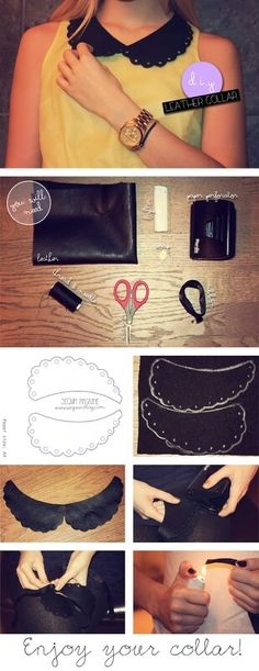 Diy shirt leather colar!!!                                                                                                                                                                                 More