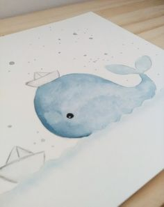 Illustration blue whale and paper boats Blue boats Illustration Paper whale Easy Watercolor, Watercolor Cards, Watercolour Painting, Painting & Drawing, Boat Illustration, Watercolor Illustration, Baby Poster, Happy Paintings, Baby Art