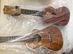 My ukuleles with cover. Ready for teppanyaki in the dining room.