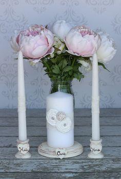 Wedding Unity Candle Holder Set Shabby Chic Decor (item P10315). $39.99, via Etsy.