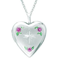 Sterling Silver Cross and Flower Heart Locket Necklace | Overstock.com Shopping - Top Rated Lockets Necklaces
