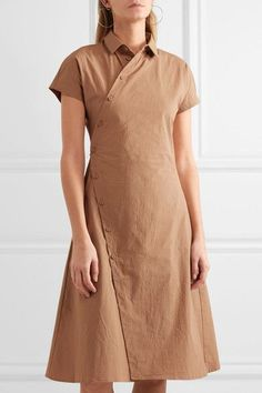 Tomas Maier - Cotton-blend Poplin Wrap Dress - Camel - US