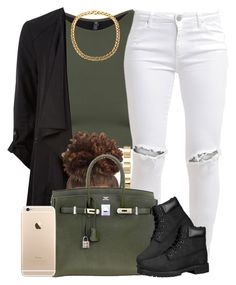 """Black and Green."" by livelifefreelyy ❤ liked on Polyvore featuring Onzie, FiveUnits, ASOS, Hermès and Timberland"