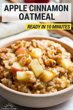 We love making this healthy apple cinnamon oatmeal for breakfast This is a quick stovetop recipe that is perfect for weekday mornings You can also save the leftovers Get the recipe on Healthy Oatmeal Breakfast, Healthy Oatmeal Recipes, Best Breakfast Recipes, Breakfast And Brunch, Brunch Recipes, Apple Breakfast, Healthy Breakfasts, Best Oatmeal Recipe, Rolled Oats Recipe