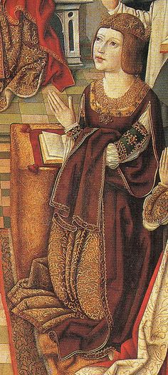 (Isabella I of Castile, mother to Katherine of Aragon and maternal grandmother of Mary I of England.  Detail from The Virgin of the Catholic Monarchs by an unknown artist which depicts Ferdinand II of Aragon and Isabella I of Castile).