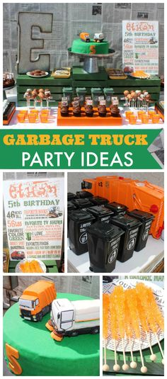 A garbage truck boy birthday party with mini garbage can favors and custom made garbage trucks!  See more party planning ideas at CatchMyParty.com!