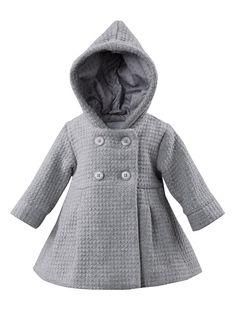 Abrigo de paño de lana bebé niña 3 meses a 3 años GRIS OSCURO JASPEADO+GRIS MEDIO JASPEADO+GRIS MEDIO LISO+ROSA FUERTE LISO