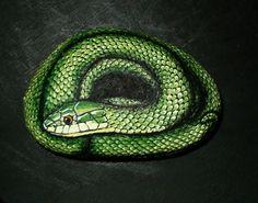Hand Painted Rock Art Rough Green Snake
