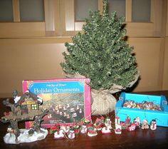 "LOT Holiday Miniature Decor: 10"" Christmas Tree, 75+ Ornaments, House Figurine"
