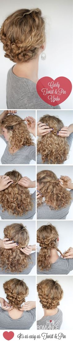 curly hair twist and pin updo.