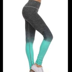 "Mint and Grey Leggings. These fabulous leggings are so cute and sporty. Perfect for the gym, or running around town. Breathable 4 way stretch for ease of movement. Comfort waist. 88% nylon, 12% spandex. Natural moisture wicking. Super well made, and will be your favorite leggings. Available in L/XL and fits sizes 8-12. Waist 24"", hips 35"". Comes to you in its original sealed packaging with tags attached. Mint Leggings Pants Leggings"