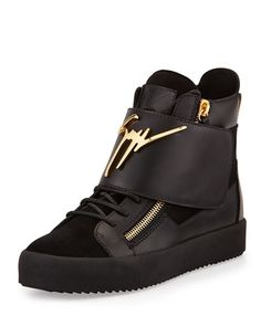 Logo Strap Leather High-Top Sneaker, Black by Giuseppe Zanotti at Neiman  Marcus.