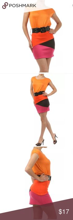 ✨ Cap Sleeve Colorblock Skirted Scuba Dress You'll love this sexy and casual dress! Great for everday wear or glam it up for the club. Featuring a cap sleeve color block dress with a black patent crocodile belt. Skirted scuba (thick stretch) material bottom with coral, pink and black triangular panels. Stretches for a close fit. Short mini length.   Made of: 95% Polyester & 5% Spandex Dresses Mini