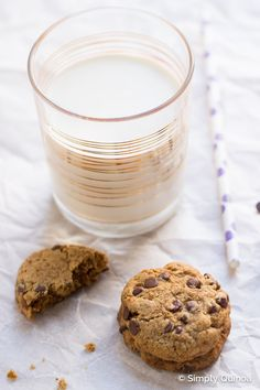 Vegan Coconut Oil Chocolate Chip Cookies made with quinoa flour and coconut sugar