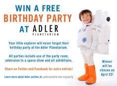 We're giving away a FREE birthday party at @Avi Adler Planetarium! Click to visit our Facebook page and enter to win. Winner will be announced April 22.