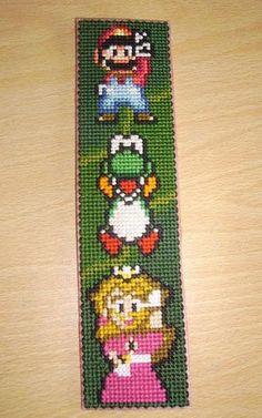 Mario plastic canvas bookmark