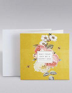 Mustard Floral Birthday Card