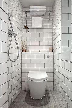 Small Wet Room Bathroom Design 7 Tiny Bathrooms Brimming with Functional and Beautiful Wet Room Bathroom, Small Shower Room, Toilet Room, Small Showers, Bathroom Toilets, Wood Bathroom, Bathroom Ideas, Bathroom Cabinets, Shower Rooms