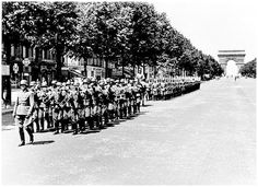 Ceremonial march of German troops on the Champs Elysees in Paris