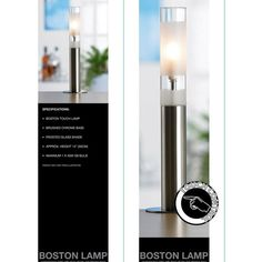 Lámpara Táctil Boston Lamp de último diseño con sistema táctil de intensidad.