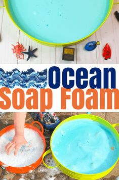 This ocean soap foam recipe mixes soap and water with cornstarch to create foam that has a great texture. Color it blue and add sea animals for a sea theme! Sea Activities, Animal Activities, Preschool Activities, Water Theme Preschool, Water Animals Preschool, Summer Preschool Themes, Activities For Toddlers, Vocabulary Activities, Family Activities