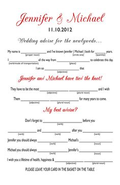 Wedding MAD Libs - print on beautiful paper for fun memory scrapbook.