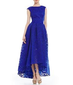 Saphire:JS Collections Hi-Low Jacquard Gown