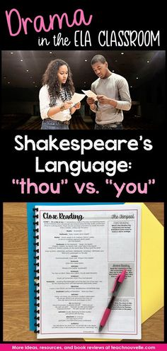 One of the most important aspects of teaching Shakespeare's language is helping students understand the meaning of thou and you. This can convey so much about characterization, including rank and relationship. Ela Classroom, English Classroom, Classroom Setup, Future Classroom, Drama Education, Education English, Teaching English, Konoha High School, Senior Activities
