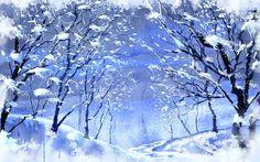 Рисунок, снег, зима, деревья