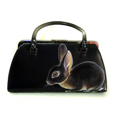 Black Otter Rabbit Handbag  Vegan  Handpainted vintage by NYhop