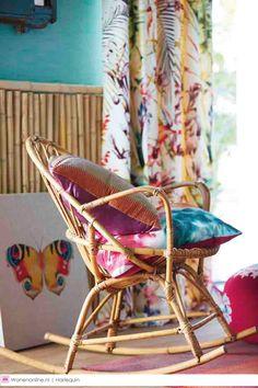Amazilia Collection by Harlequin. Tropical Interior, Tropical Design, Harlequin Fabrics, New Interior Design, Furniture Decor, Cane Furniture, Soft Furnishings, Fabric Design, Inspiration