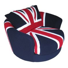 Victor is a supremely comfortable oversized swivel armchair. Covered in a handknitted cabled union jack design