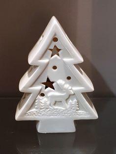 LED Figur Tannenbaum weiß edel Porzellan Weihnachten Xmas Advent Deko Trend