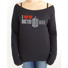Doctor Who I Heart Heart Doctor Who Off the Shoulder Slouch Jumper ($38) ❤ liked on Polyvore featuring tops, black, sweatshirts, women's clothing, long loose tops, silver top, long tops, long black top and slouchy off the shoulder tops