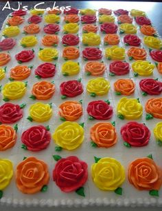 sheet cake with roses.  Sue, look at this!!  A rose on each piece and in every bite!!!!!