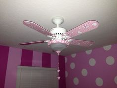 Ceiling fan in Jasi's new Minnie Mouse room! Too cute! Hunter fan from Home Depot