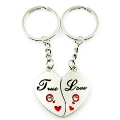 2 X Couple House Key Chain Gift Trinket for Lovers Alloy Jewerly Sweetheart HICA