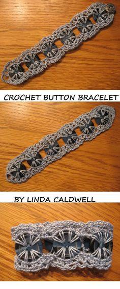 ::button bracelet with crochet:: Crochet Buttons, Crochet Stitches, Love Crochet, Crochet Flowers, Knit Crochet, Crochet Crafts, Yarn Crafts, Knitting Projects, Craft Ideas