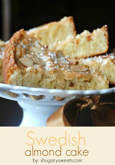 Swedish Almond Cake: delicious breakfast cake topped with sliced almonds.Being Swedish I grew up on this yummy dessert.Mom made it often for her Bible study groups. Swedish Almond Cake Recipe, Swedish Recipes, Sweet Recipes, Scandinavian Recipes, Swedish Foods, Swedish Cuisine, Swedish Dishes, Just Desserts, Dessert Recipes
