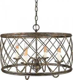 Carol's Lighting in Humble, Texas, United States,  A003, Four Light Nickel Drum Shade Chandelier, Dury, Century Silver Leaf - Silver