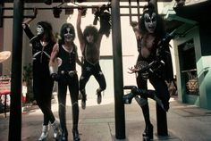 Circa 1976, Hollywood, CA — Kiss: Ace Frehley (guitar), Peter Criss (drums), Paul Stanley (rhythm guitar, vocals), and Gene Simmons (bass, vocals). — Image by © Neal Preston