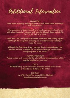 Personalised Burgundy & Gold Wedding Guest Additional Information Cards. Printable PDF or Printed & Delivered
