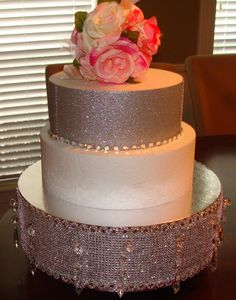 Crystal Bling Cake Stand Wedding Cake/Riser/ by OmUniqueWeddings, $105.00