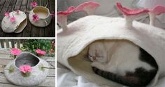 Felted Cat Caves