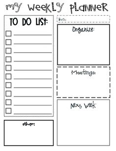 Weekly Planner- to do list, meetings etc- week at a glance!